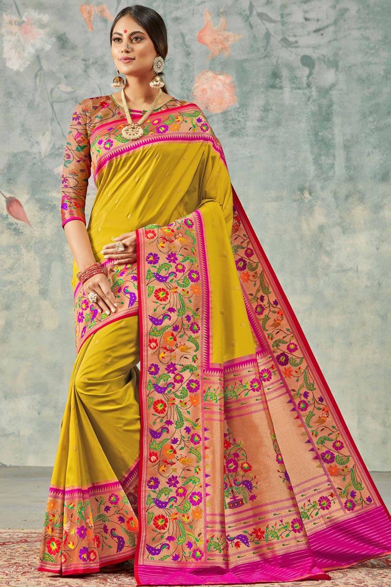 Sangeet Wear Elegant Mustard Color Weaving Work Handloom Silk Fabric Saree
