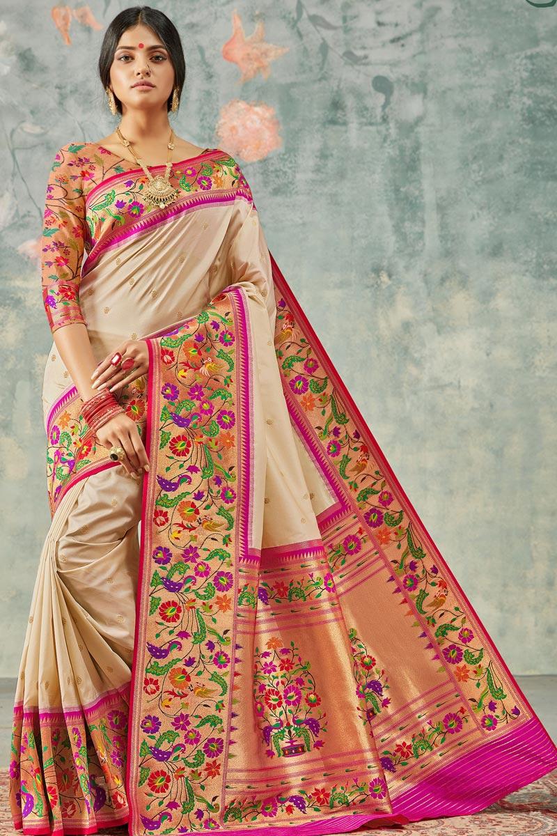 Beige Color Elegant Sangeet Wear Handloom Silk Fabric Weaving Work Saree