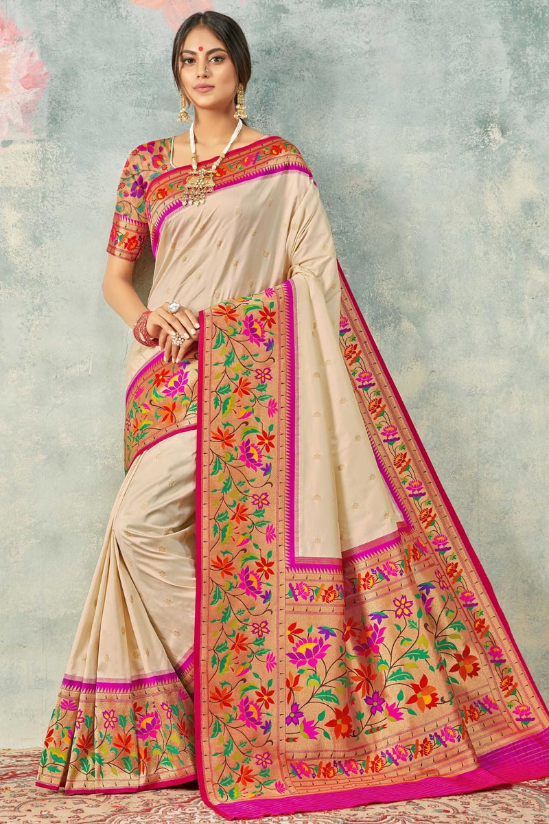 Sangeet Wear Elegant Handloom Silk Fabric Weaving Work Saree In Beige Color