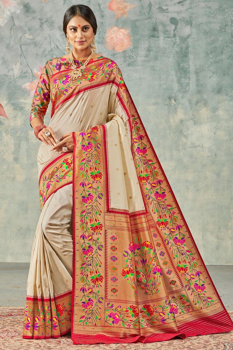 Beige Color Sangeet Wear Handloom Silk Fabric Trendy Weaving Work Saree