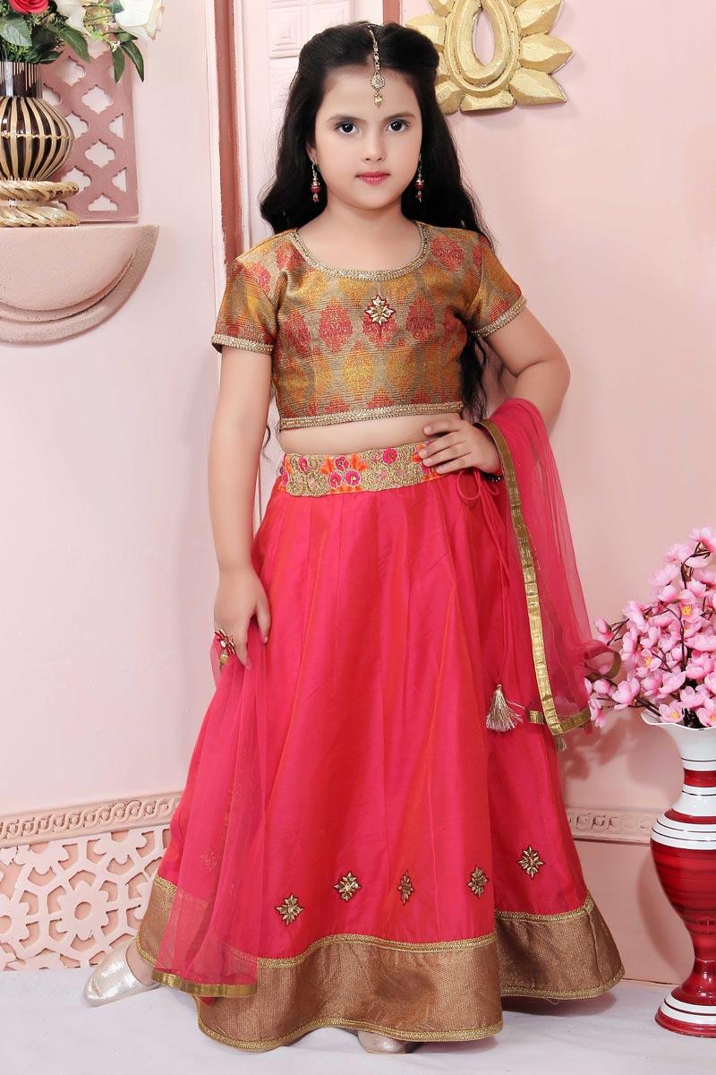 Trendy Pink Color Lehenga Choli For Girls In Jacquard Fabric