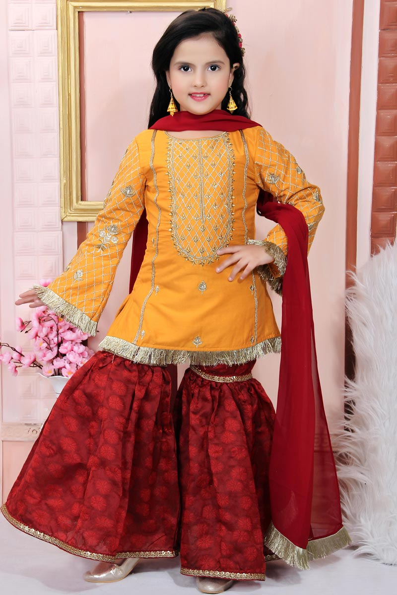 Yellow Color Function Wear Sharara Suit For Girls In Cotton Silk Fabric