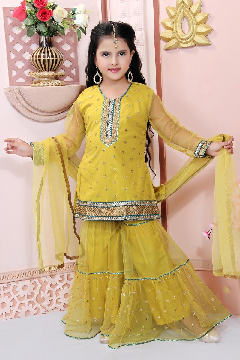 Girls Wear Yellow Color Net Fabric Sharara Salwar Suit