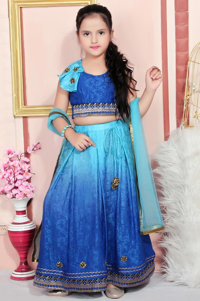 Designer Blue Color Crepe Fabric Lehenga Choli For Girls