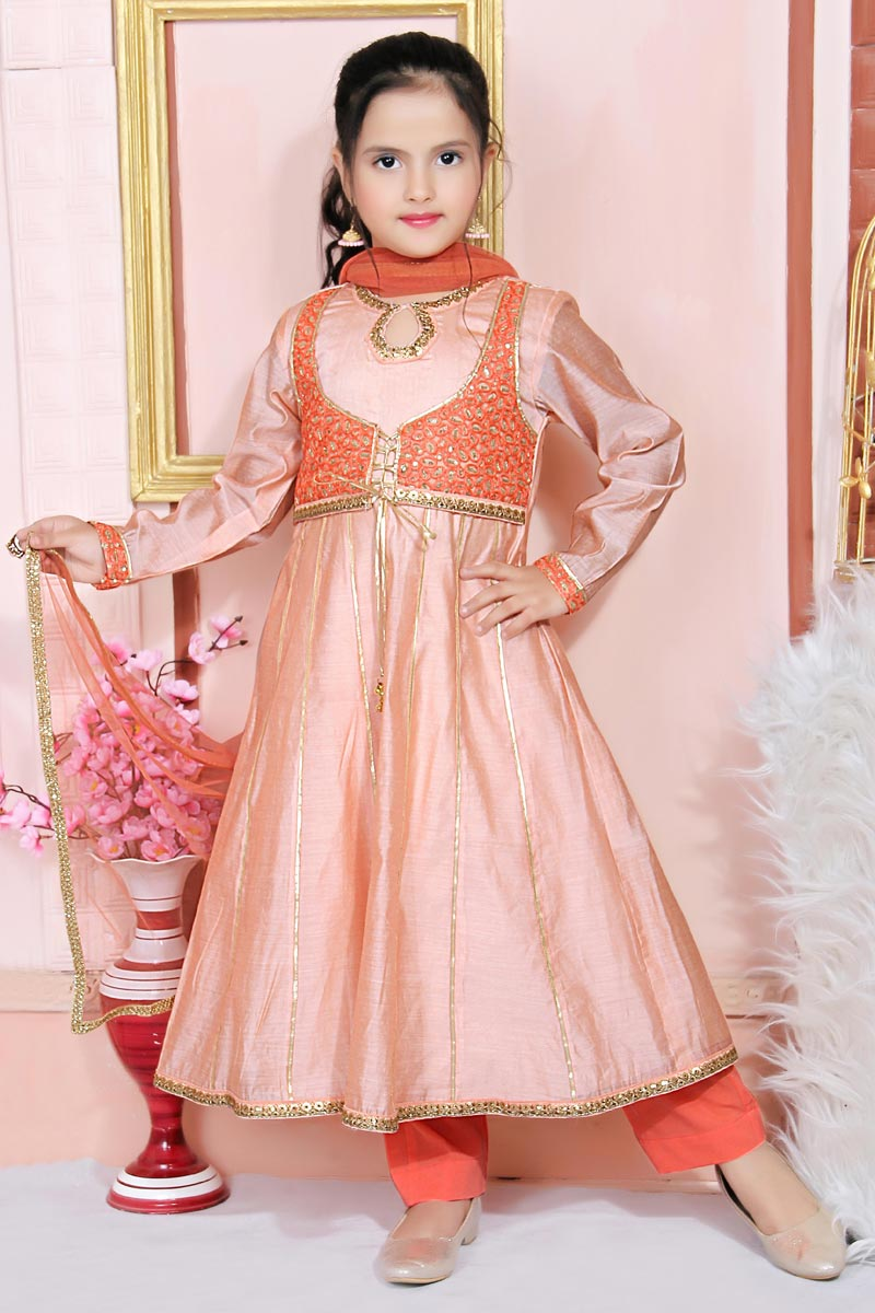 Girls Wear Party Style Peach Color Anarkali Suit In Chanderi Silk Fabric