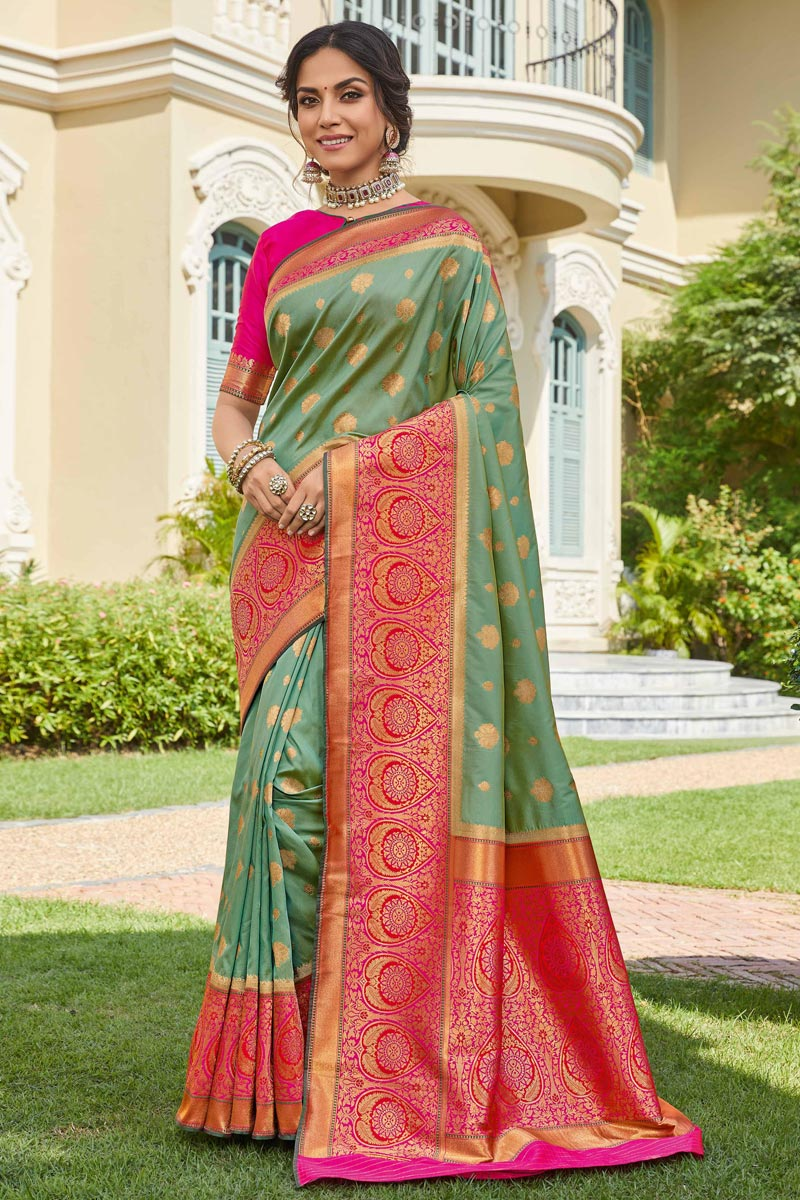 Sea Green Color Sangeet Wear Banarasi Style Silk Elegant Weaving Work Saree