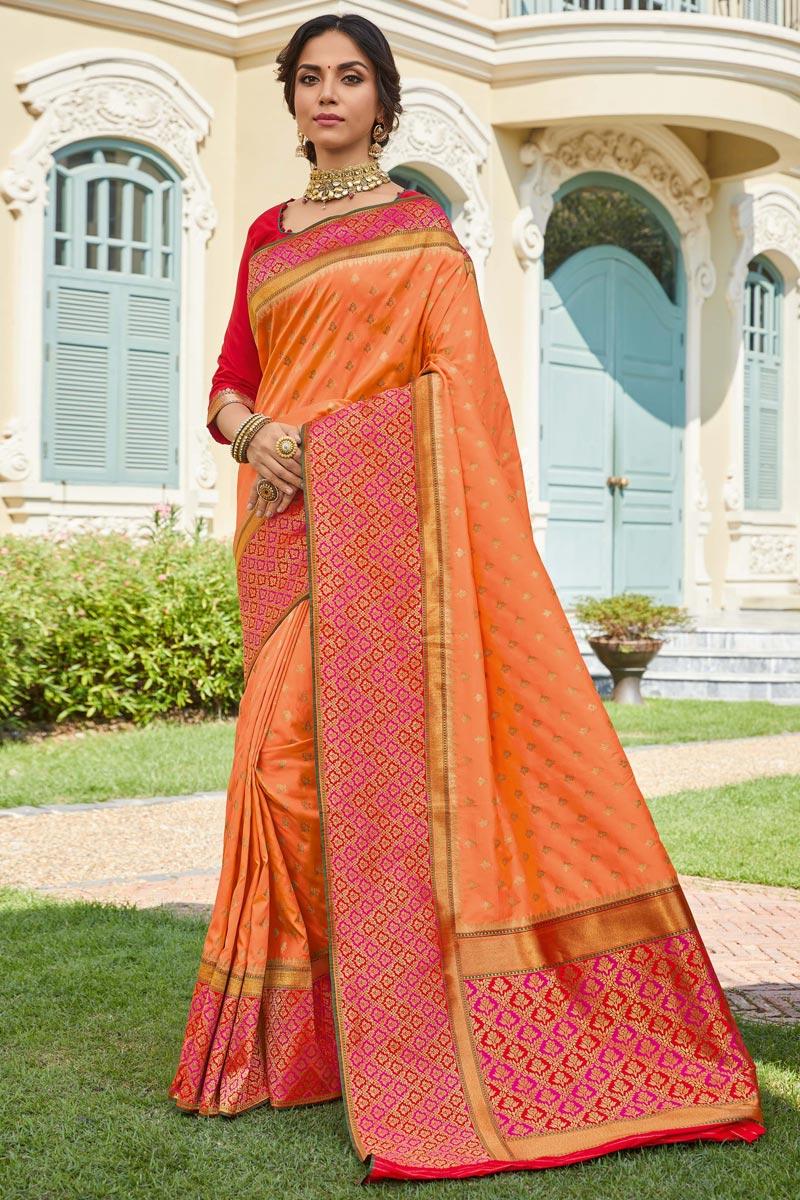 Sangeet Wear Elegant Orange Color Weaving Work Saree In Banarasi Style Silk