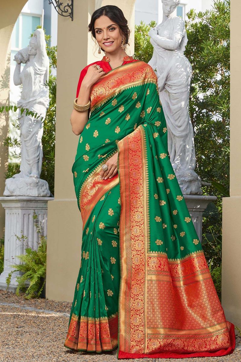 Sangeet Wear Elegant Green Color Weaving Work Banarasi Style Silk Saree