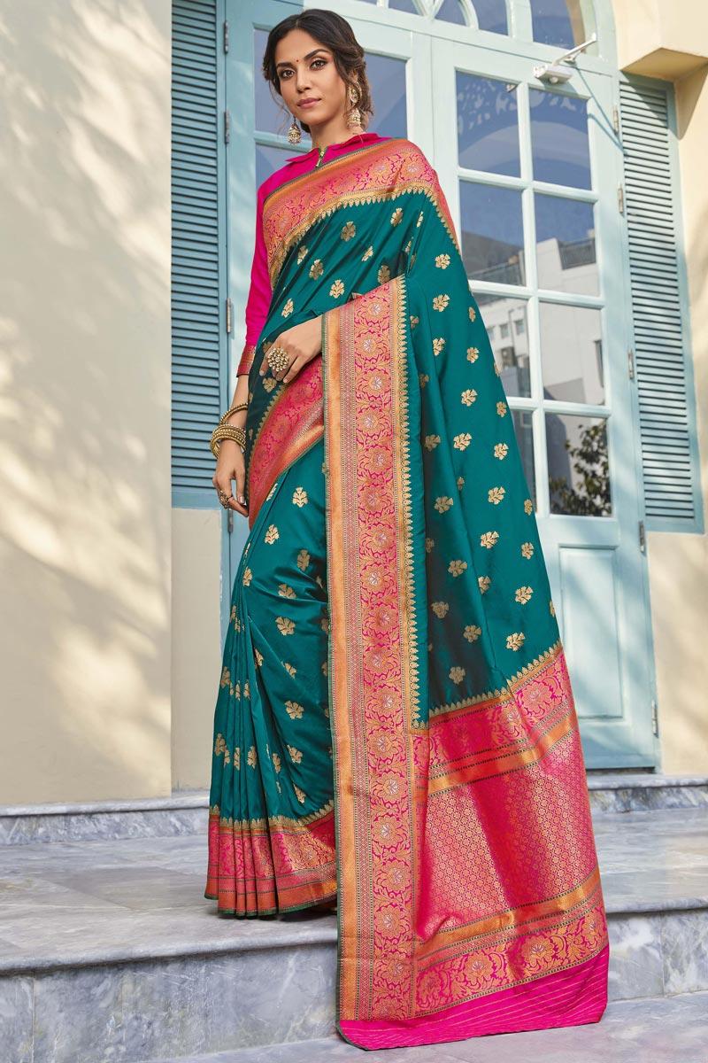 Banarasi Style Silk Sangeet Wear Teal Color Elegant Weaving Work Saree