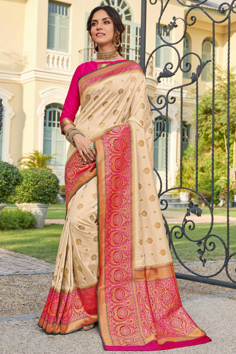 Sangeet Wear Banarasi Style Silk Elegant Beige Color Weaving Work Saree
