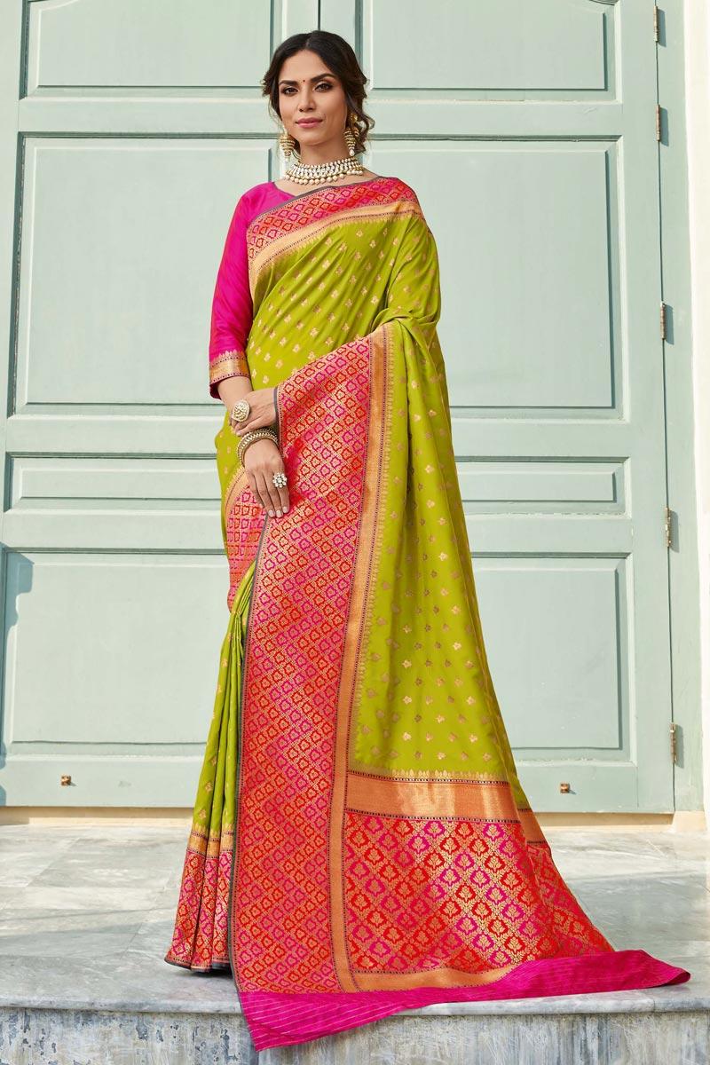 Sangeet Wear Banarasi Style Silk Elegant Weaving Work Saree In Green Color