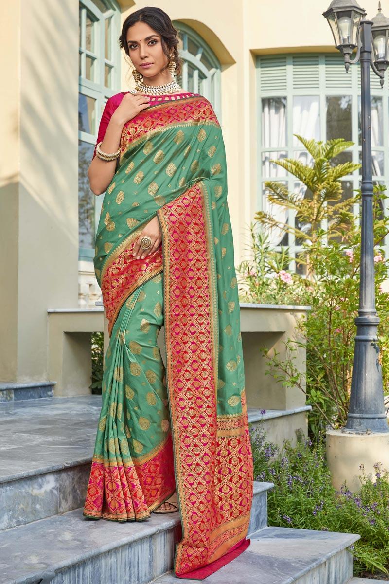 Sangeet Wear Trendy Sea Green Color Weaving Work Saree In Banarasi Style Silk