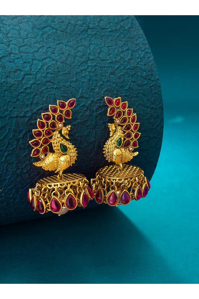 Golden Color Sangeet Wear Stylish Alloy Metal Earrings
