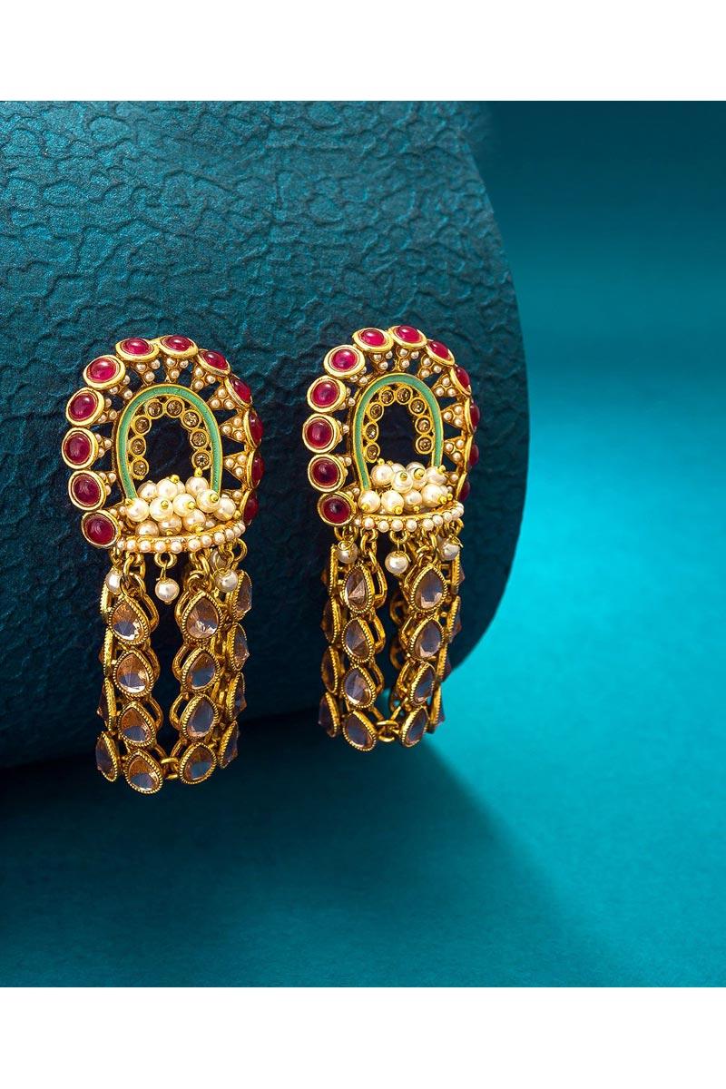 Alloy Metal Golden Color Sangeet Wear Stylish Earrings