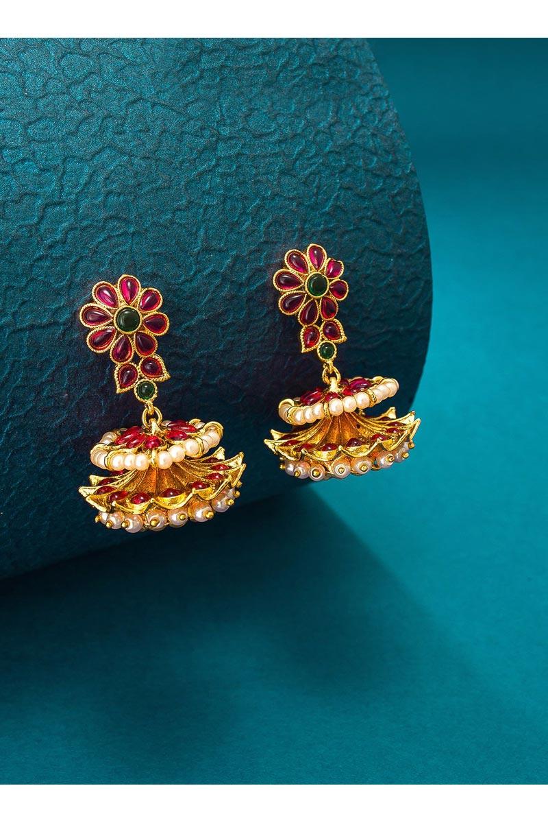 Alloy Metal Golden Color Festive Wear Stylish Earrings