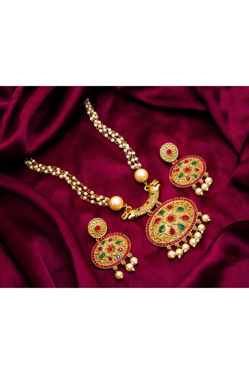 Golden Color Festive Wear Stylish Alloy Metal Necklace Set
