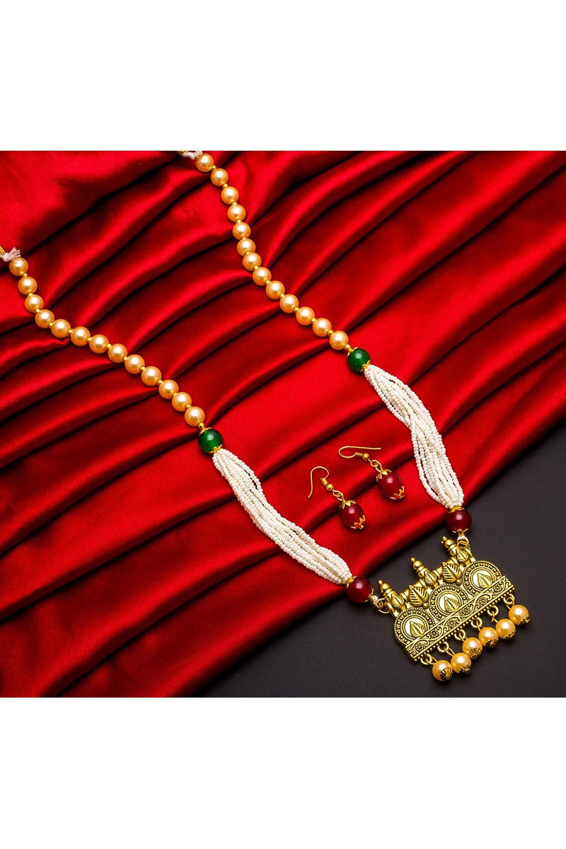 Alloy Metal Golden Color Festive Wear Attractive Necklace Set