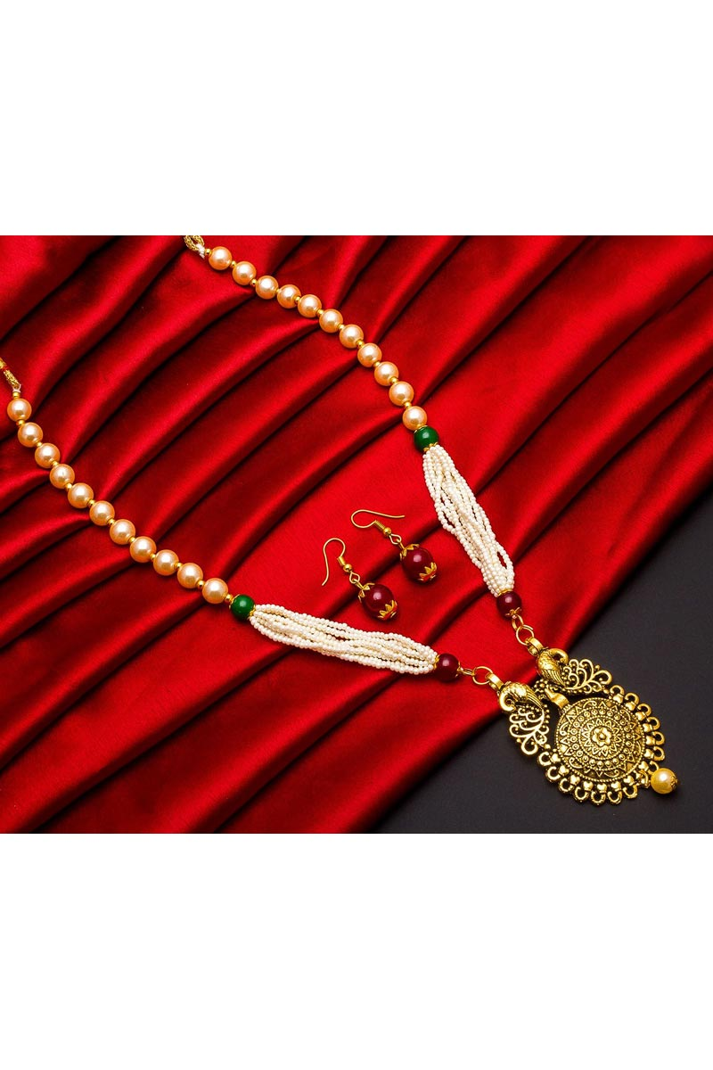 Beautiful Golden Color Festive Wear Alloy Metal Necklace Set