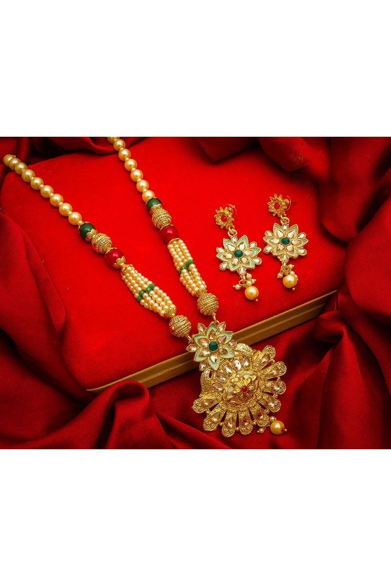 Beautiful Festive Wear Golden Color Alloy Metal Necklace Set