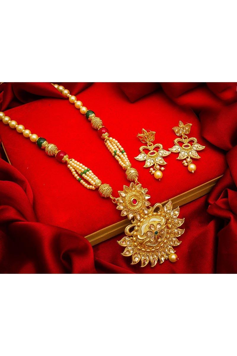 Golden Color Alloy Metal Festive Wear Beautiful Necklace Set