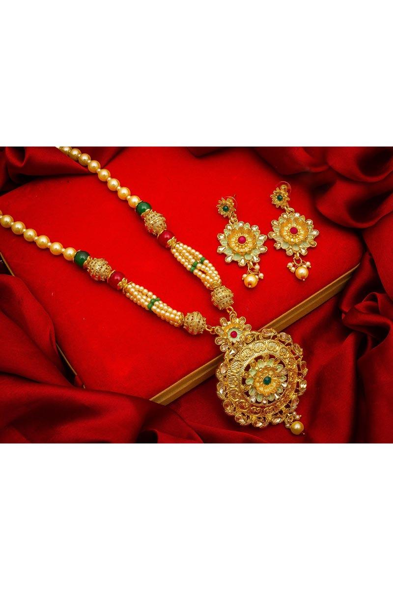 Golden Color Festive Wear Lovely Alloy Metal Necklace Set