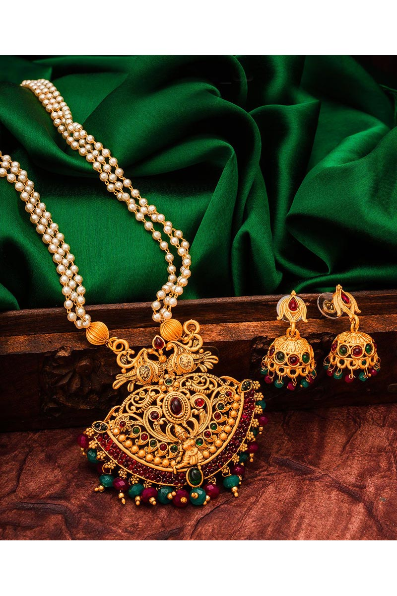 Alloy Metal Golden Color Festive Wear Lovely Necklace Set