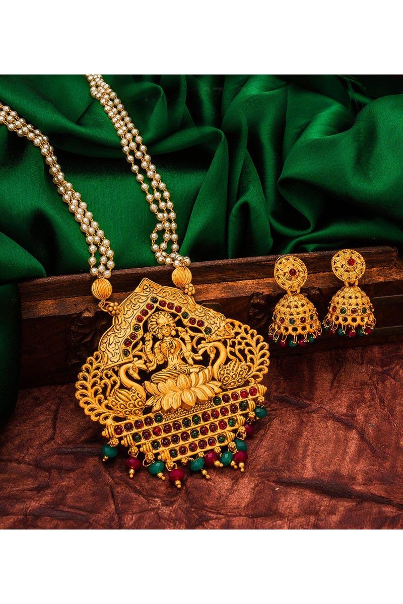 Festive Wear Lovely Alloy Metal Golden Color Necklace Set