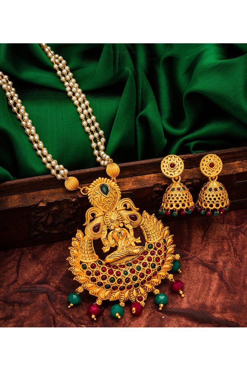 Classy Golden Color Festive Wear Alloy Metal Necklace Set