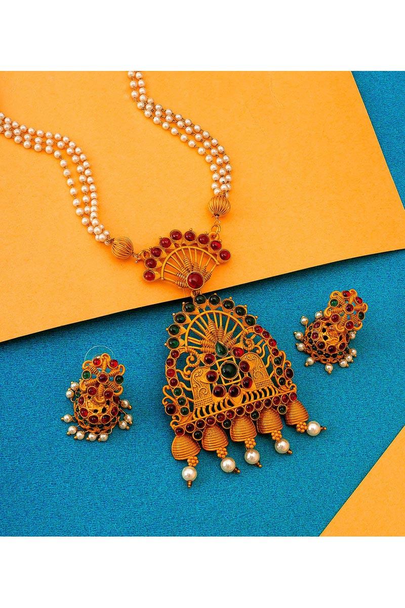 Golden Color Festive Wear Preety Alloy Metal Necklace Set