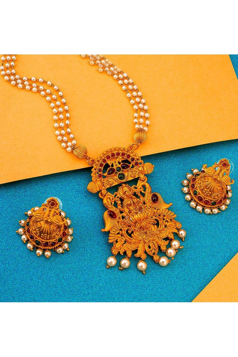 Festive Wear Preety Alloy Metal Golden Color Necklace Set