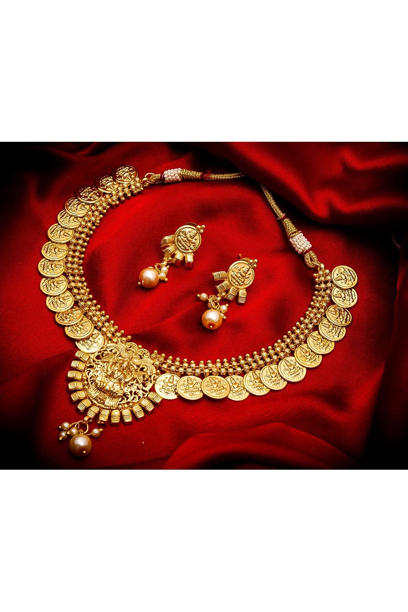 Alloy Metal Golden Color Traditional Wear Beautiful Necklace Set