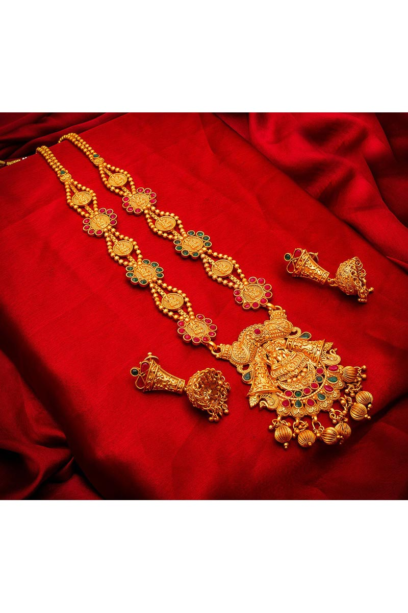 Golden Color Alloy Metal Traditional Wear Beautiful Necklace Set