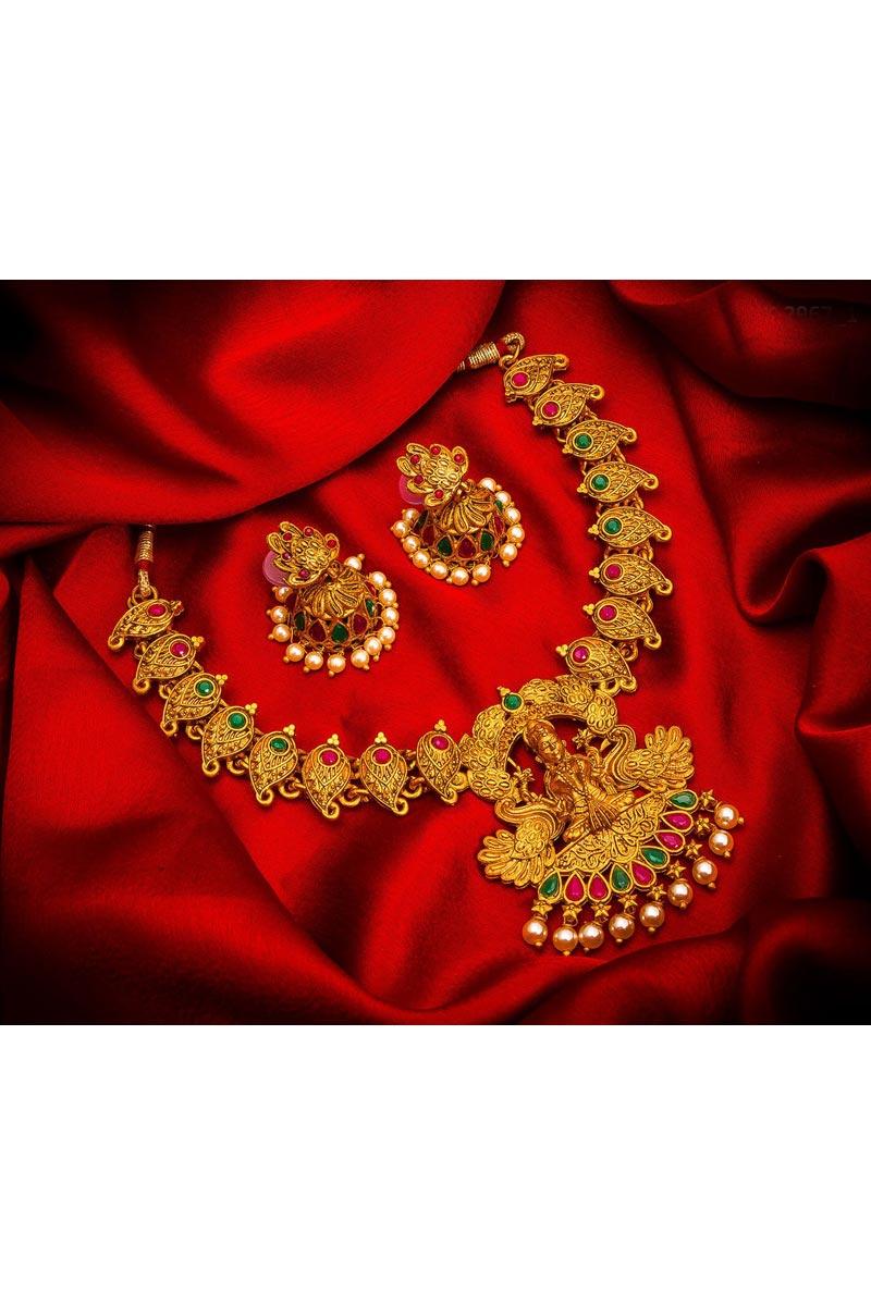 Gorgeous Golden Color Traditional Wear Alloy Metal Necklace Set