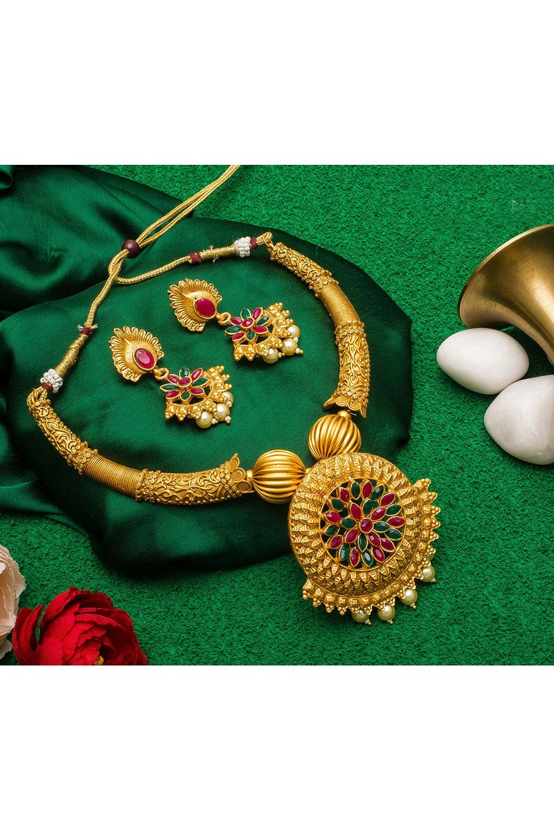 Classy Golden Color Traditional Wear Alloy Metal Necklace Set