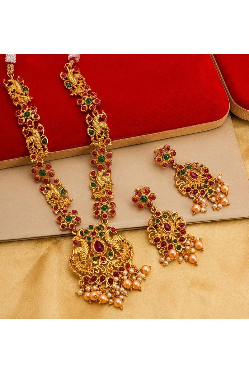 Preety Traditional Wear Golden Color Alloy Metal Necklace Set