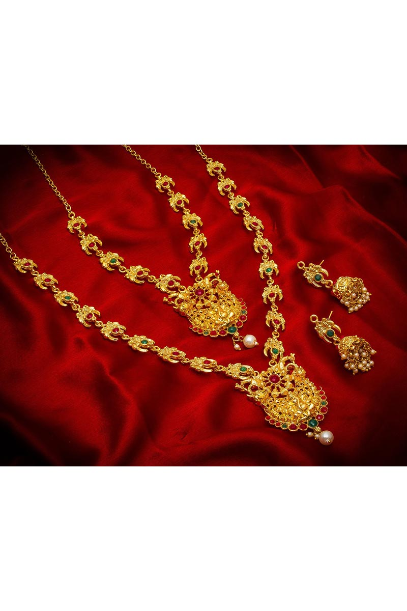Stylish Golden Color Traditional Wear Alloy Metal Double Necklace Set