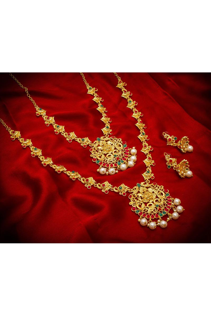 Traditional Wear Stylish Alloy Metal Golden Color Double Necklace Set