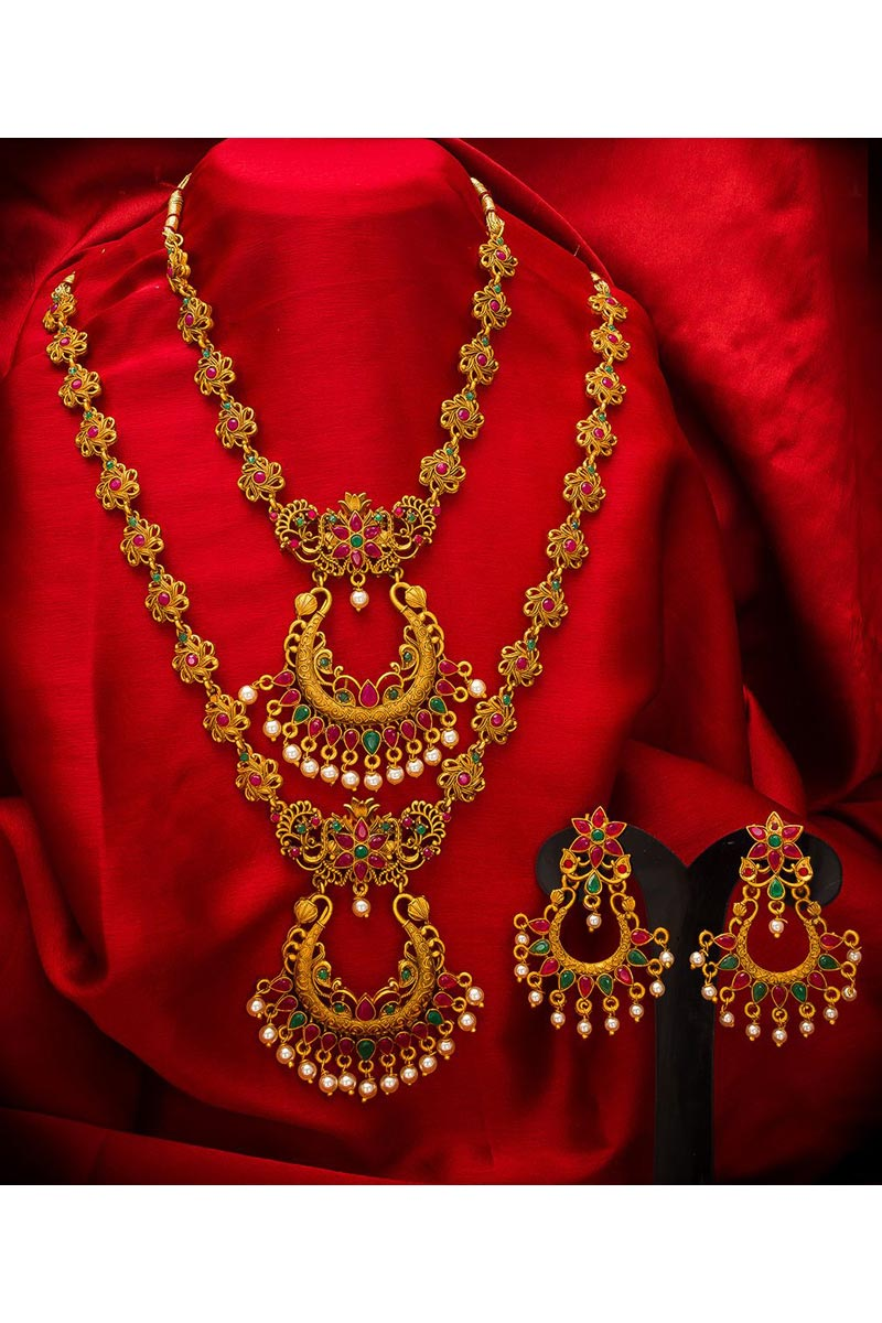 Stylish Traditional Wear Golden Color Alloy Metal Double Necklace Set