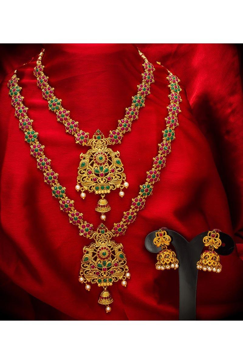 Golden Color Traditional Wear Gorgeous Alloy Metal Double Necklace Set