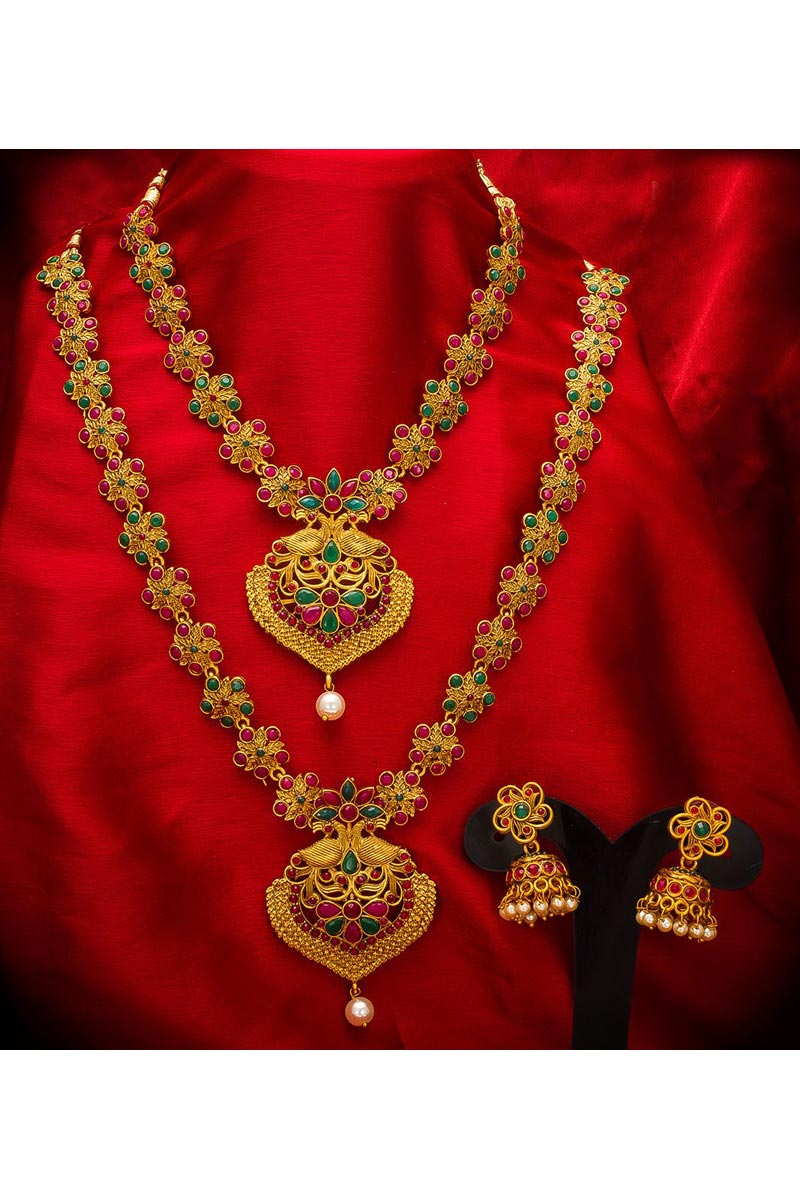 Alloy Metal Golden Color Traditional Wear Gorgeous Double Necklace Set