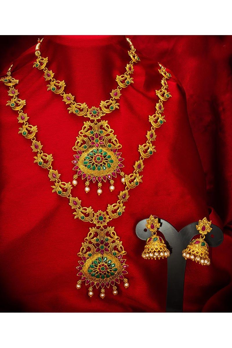 Traditional Wear Gorgeous Alloy Metal Golden Color Double Necklace Set
