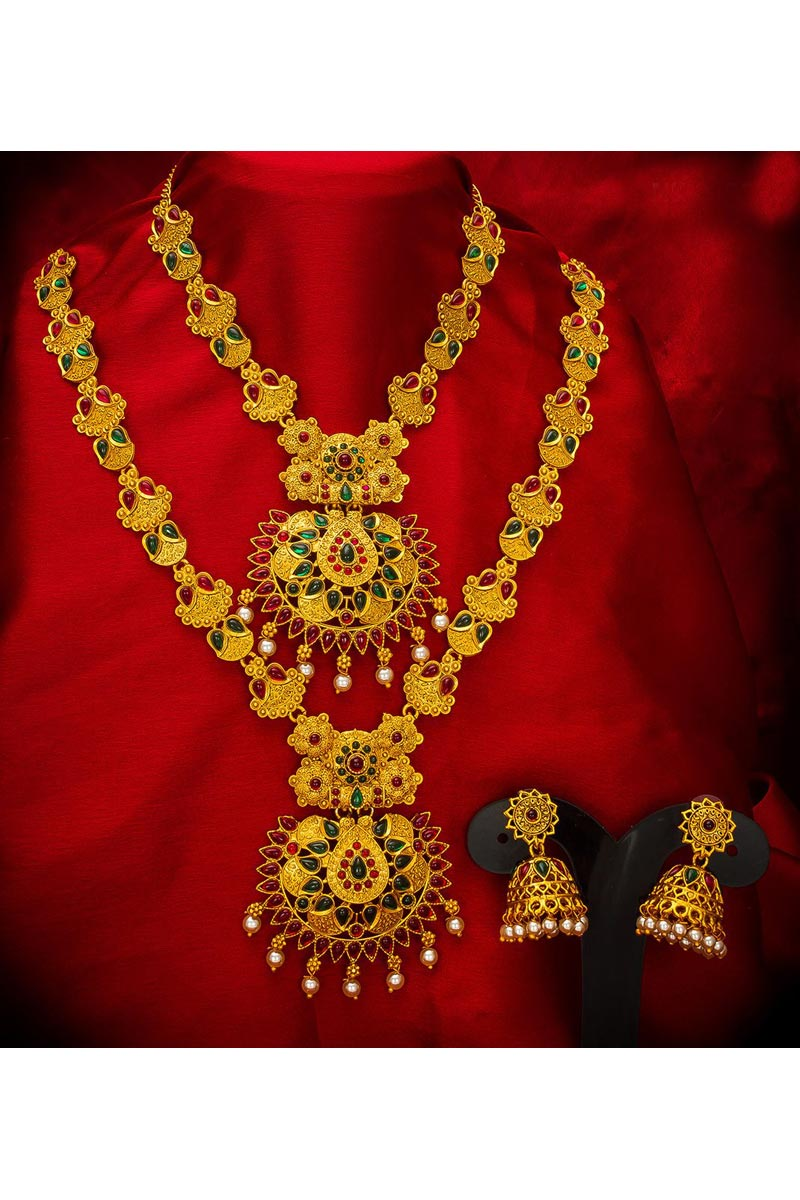 Golden Color Traditional Wear Beautiful Alloy Metal Double Necklace Set
