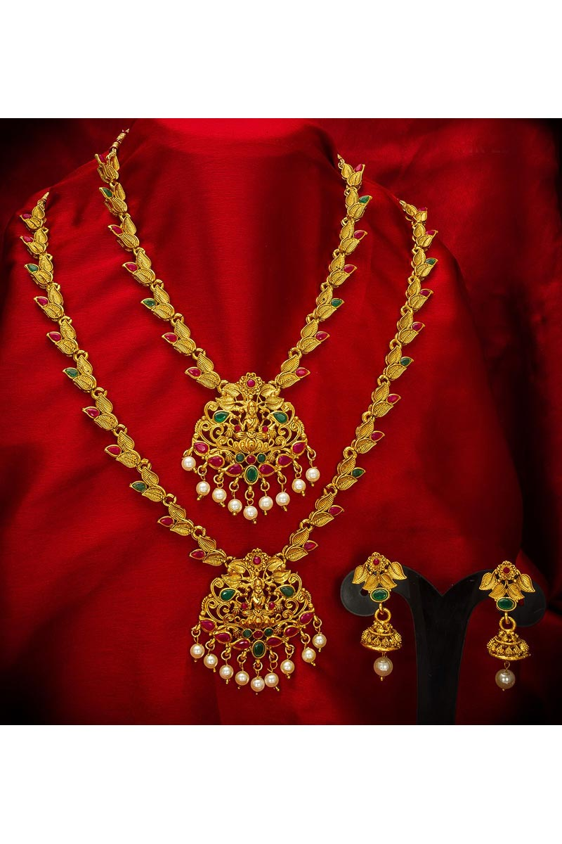 Beautiful Golden Color Traditional Wear Alloy Metal Double Necklace Set