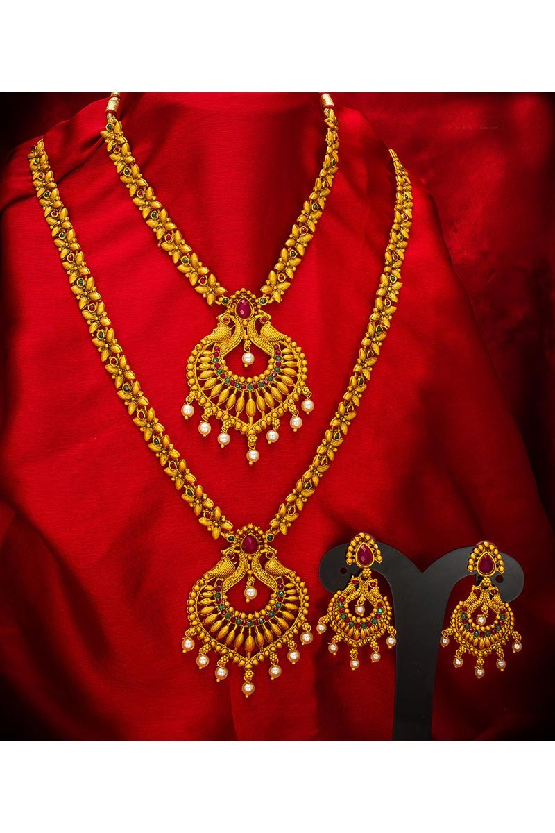 Alloy Metal Golden Color Traditional Wear Beautiful Double Necklace Set