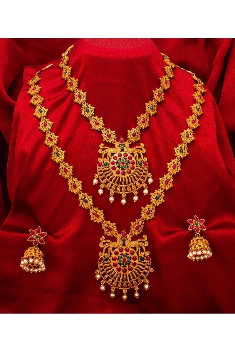 Traditional Wear Beautiful Alloy Metal Golden Color Double Necklace Set