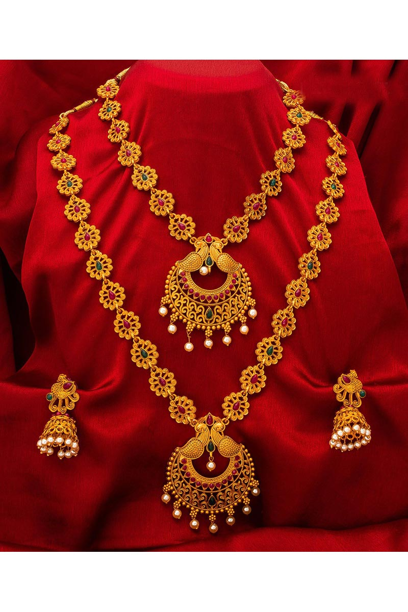 Beautiful Traditional Wear Golden Color Alloy Metal Double Necklace Set