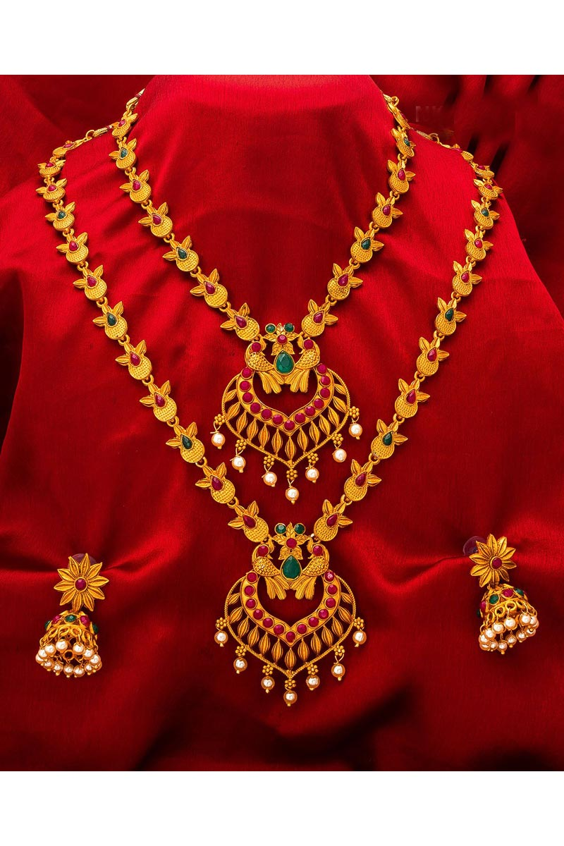 Golden Color Alloy Metal Traditional Wear Beautiful Double Necklace Set