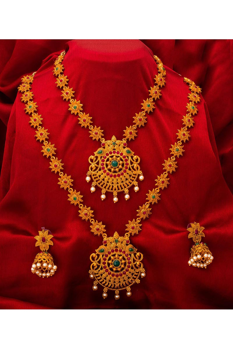 Glamorous Golden Color Traditional Wear Alloy Metal Double Necklace Set