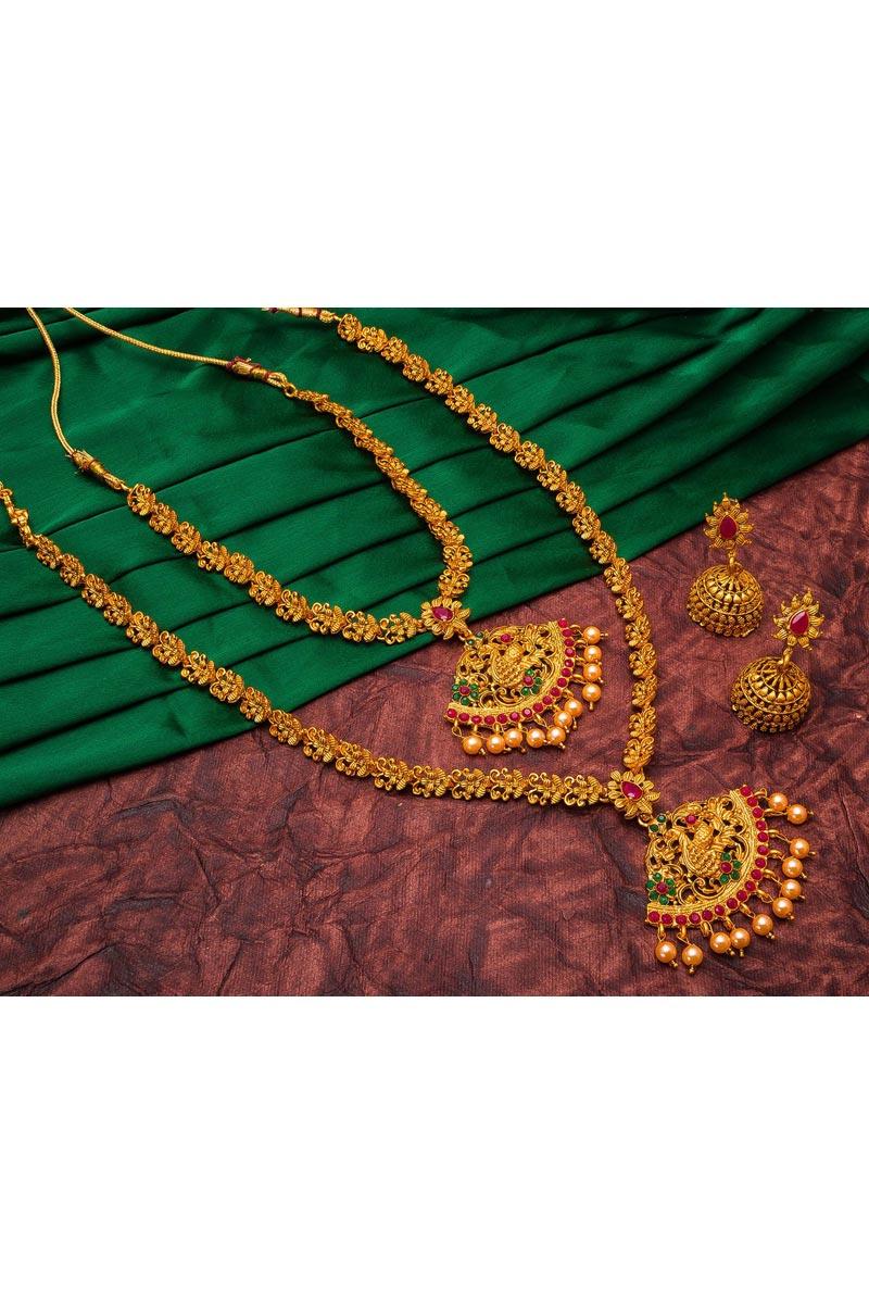 Trendy Golden Color Puja Wear Alloy Metal Double Necklace Set