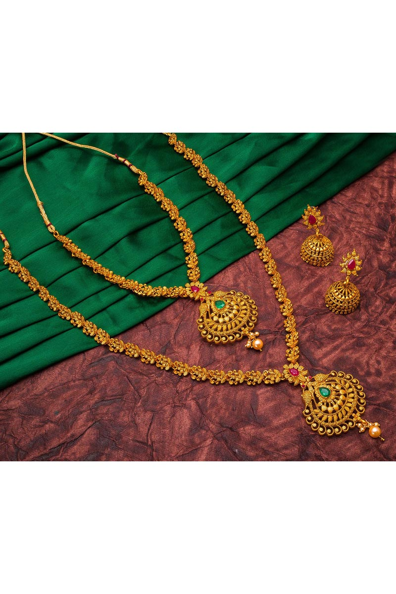 Puja Wear Trendy Alloy Metal Golden Color Double Necklace Set